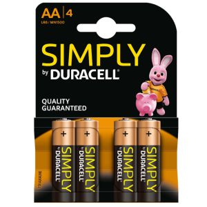 Pilas Duracell Simply AA LR6 Alcalinas Pack 4 uds