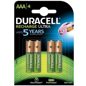 Pilas recargables Duracell AAA LR03, Pack 4 uds, 900 mAh