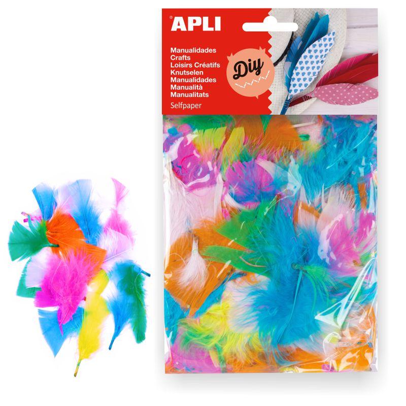 Mini plumas de colores para collage Apli Pte. 24, Selfpaper.com.