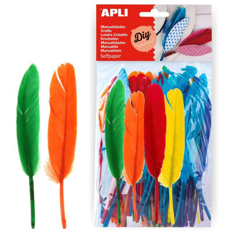 plumas para manualidades de colores pte 100