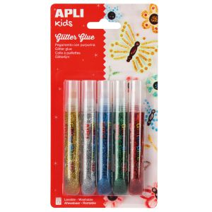 Purpurina en Gel Glitter Glue 3D Apli, 5 Colores Metalizados