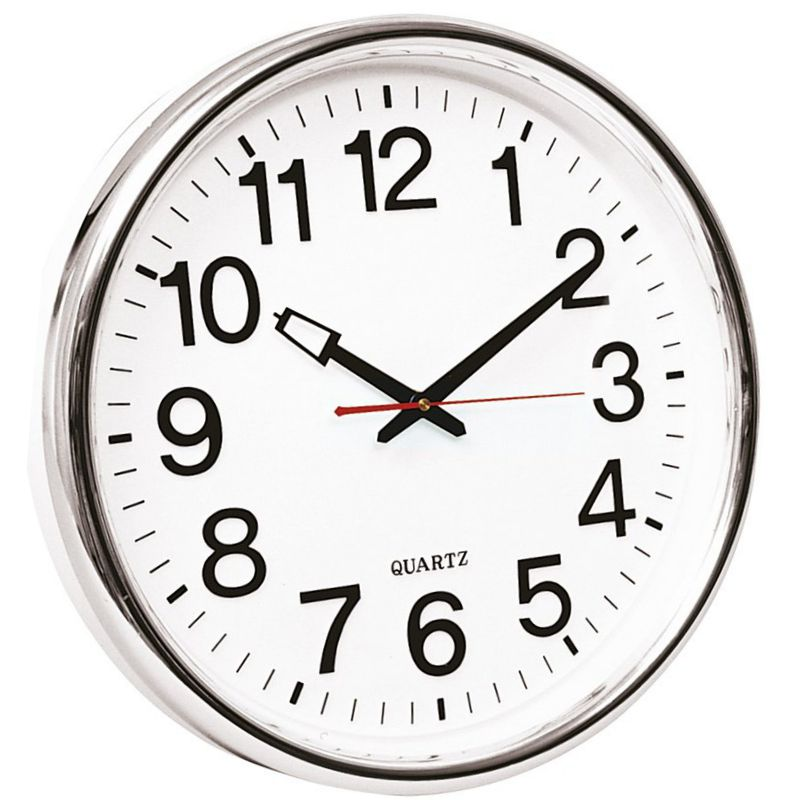 Reloj de pared para oficina 35 cms extra grande cromado - Reloj grande de pared ...