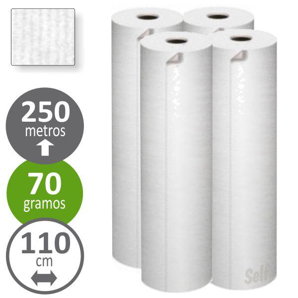 Rollo de papel continuo blanco 110 cms x 250 metros 25 kg Selfpaper