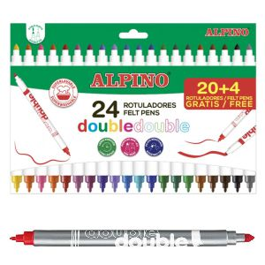 Rotuladores 2 Puntas alpino Double 20 + 4 Gratis, 24 Colores