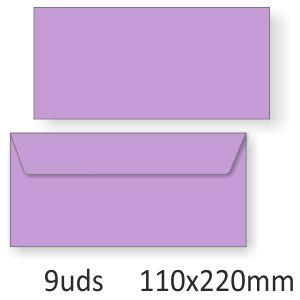 Sobres alargados color lila