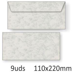 Sobres alargados gris apergaminados