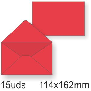 Sobres color rojo, 114x162mm,