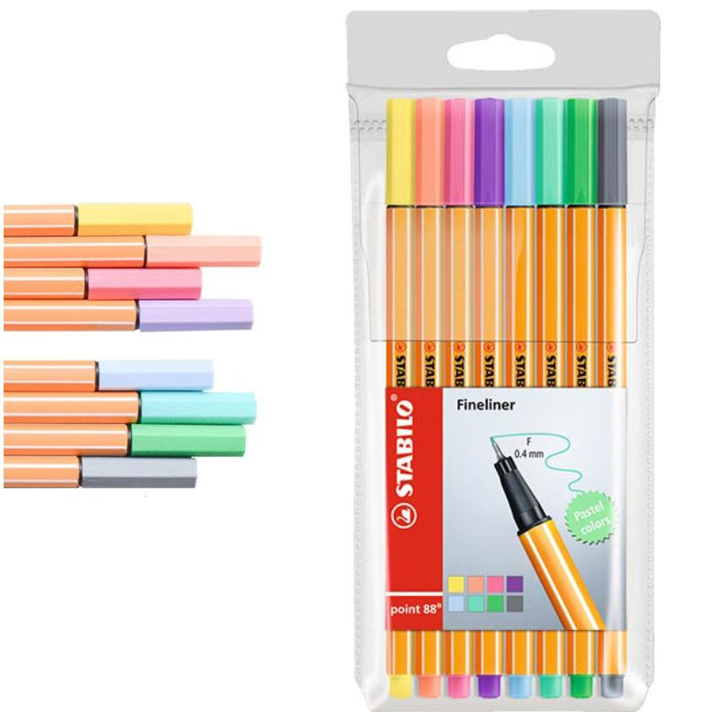 stabilo point 88 pack 8 colores pastel punta fina