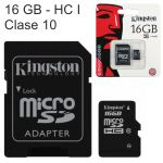 Tarjeta Microsd HC Kingston 16 GB, Clase 10 con adaptador SD