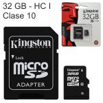 Tarjeta Microsd HC Kingston 32 GB, Clase 10 y adaptador SD