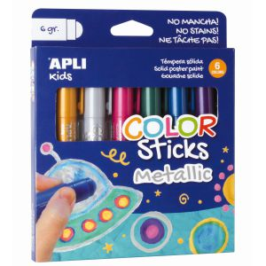 Tempera Solida pack 6 colores Metalizados Apli colorsticks