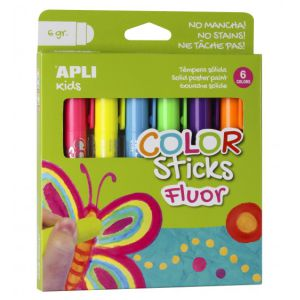 Pack 6 témperas sólidas color fluorescentes neon Apli 14404