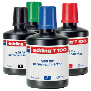 Tinta Edding T-100 Permanente - botella de 100 ml